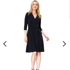 Leota PERFECT WRAP DRESS IN BLACK CREPE